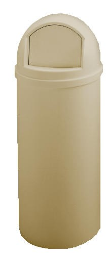 Dome Top Trash Recptacle with Hinged Door, 25 Gallon, Beige