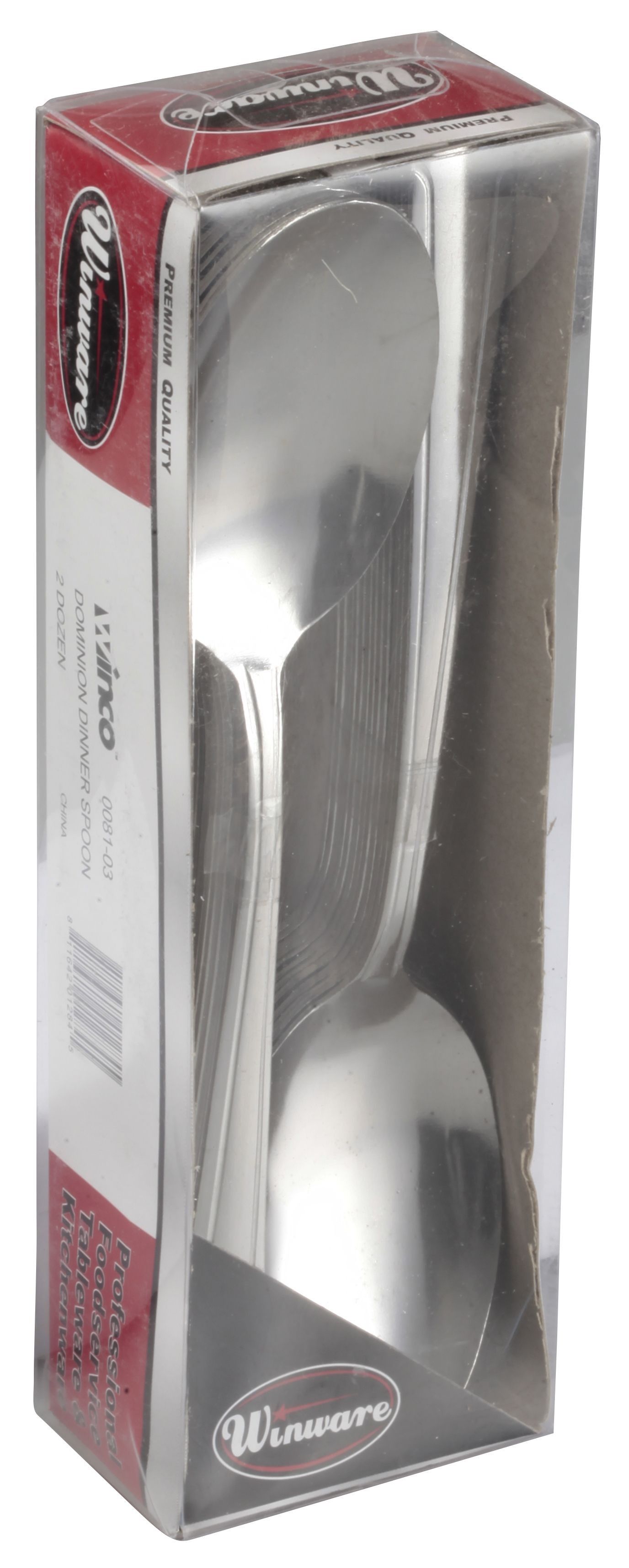 Winco 0081-03 Dominion Medium Weight 18/0 Dinner Spoon In Clear View Pack (24/Pack)