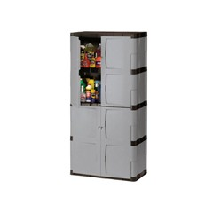 Double-Door Storage Cabinet - Base/Top, 36w x 18d x 72h, Gray/Black