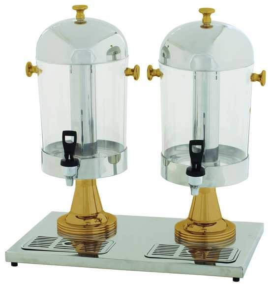 Double Juice Dispensers W/Gold Leg, 2X7-1/2Qt