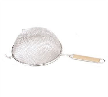 Double Mesh Medium Strainer With Wooden Handle - 8