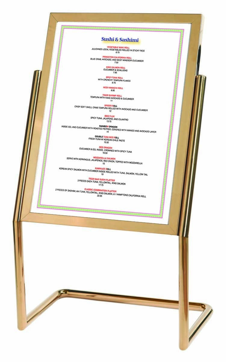 Double Pedestal Free Standing Display / Broadcaster - Brass Frame with Menu Holder