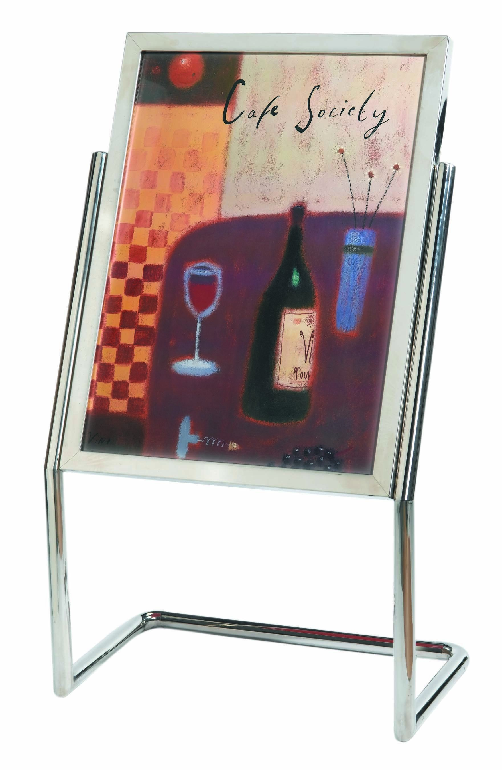 Double Pedestal Free Standing Display / Broadcaster - Chrome Frame with Menu Holder