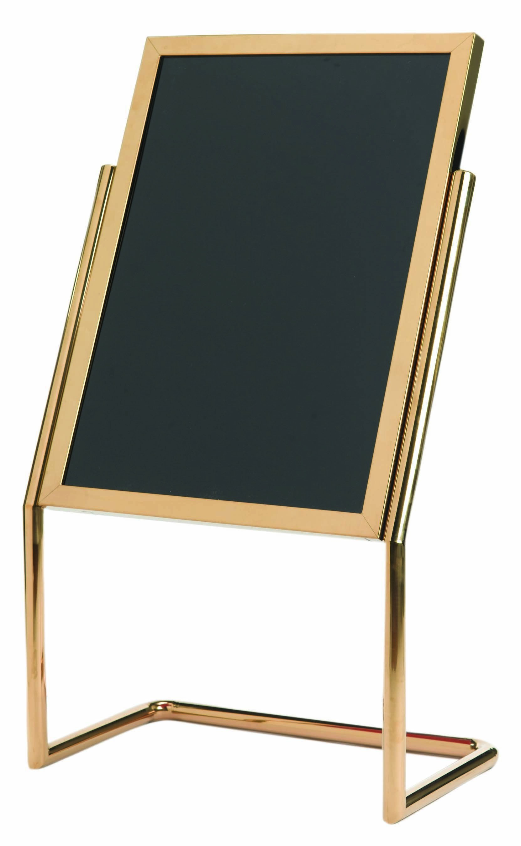 Aarco Products P-17B Double Pedestal Free Standing Display/Broadcaster Brass Frame with Markerboard