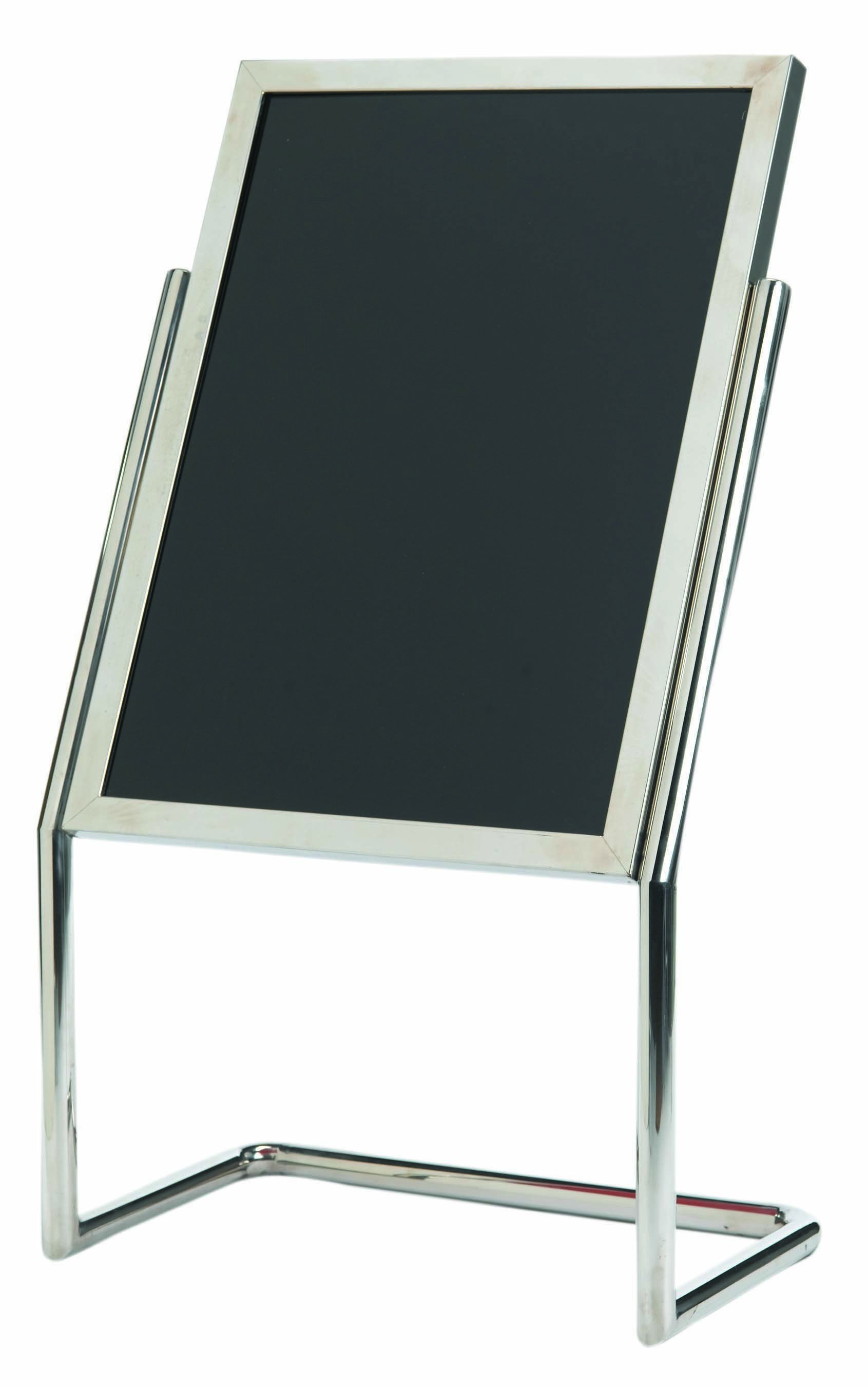 Aarco Products P-17C Double Pedestal Free Standing Display/Broadcaster Chrome Frame with Markerboard