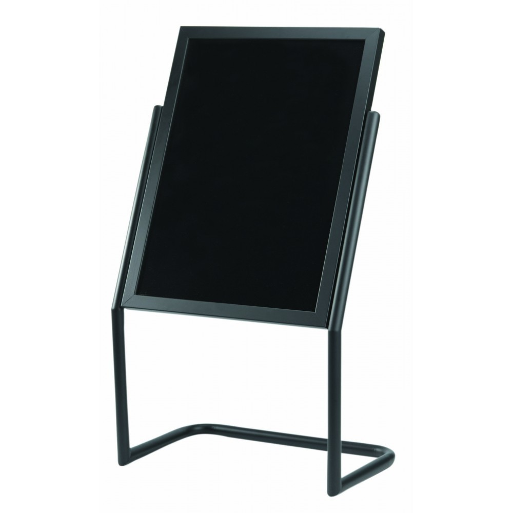 Double Pedestal Free Standing Display / Broadcaster - Black Frame with Markerboard