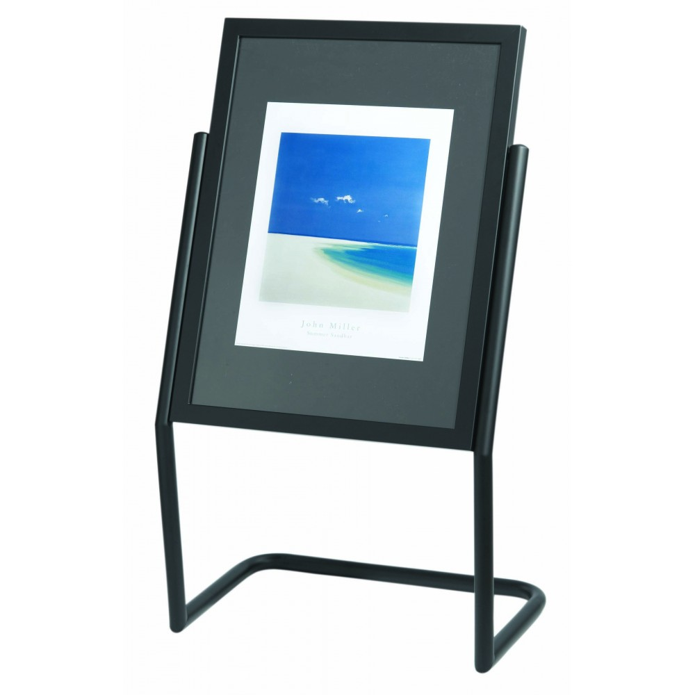 Double Pedestal Free Standing Display / Broadcaster - Black Frame with Menu Holder