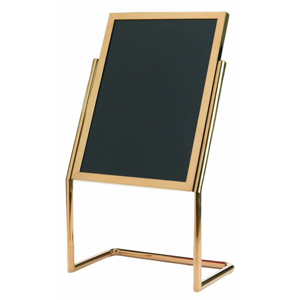 Double Pedestal Free Standing Display / Broadcaster - Brass Frame with Markerboard