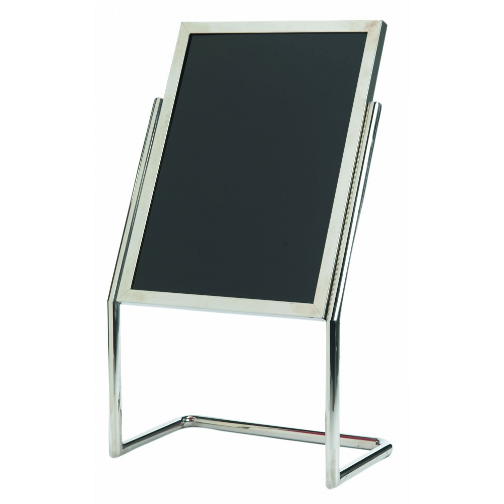 Double Pedestal Free Standing Display / Broadcaster - Chrome Frame with Markerboard