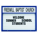 """Aarco Products DMBM5272B Double Sided Marquee Changeable Sign System with Header, Blue Powder Coated Finish, 52""""H x 72""""W"""