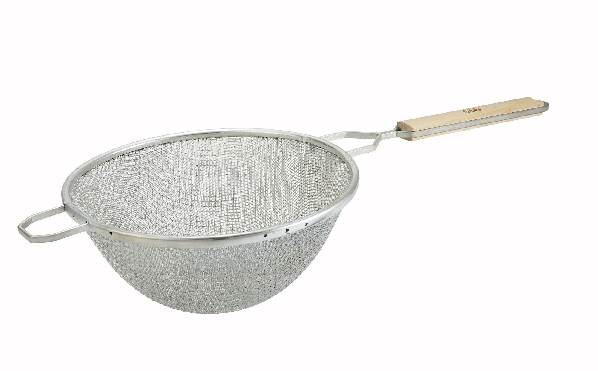 Double Tinned Mesh Fine Strainer With Wood Handle - 10-1/4