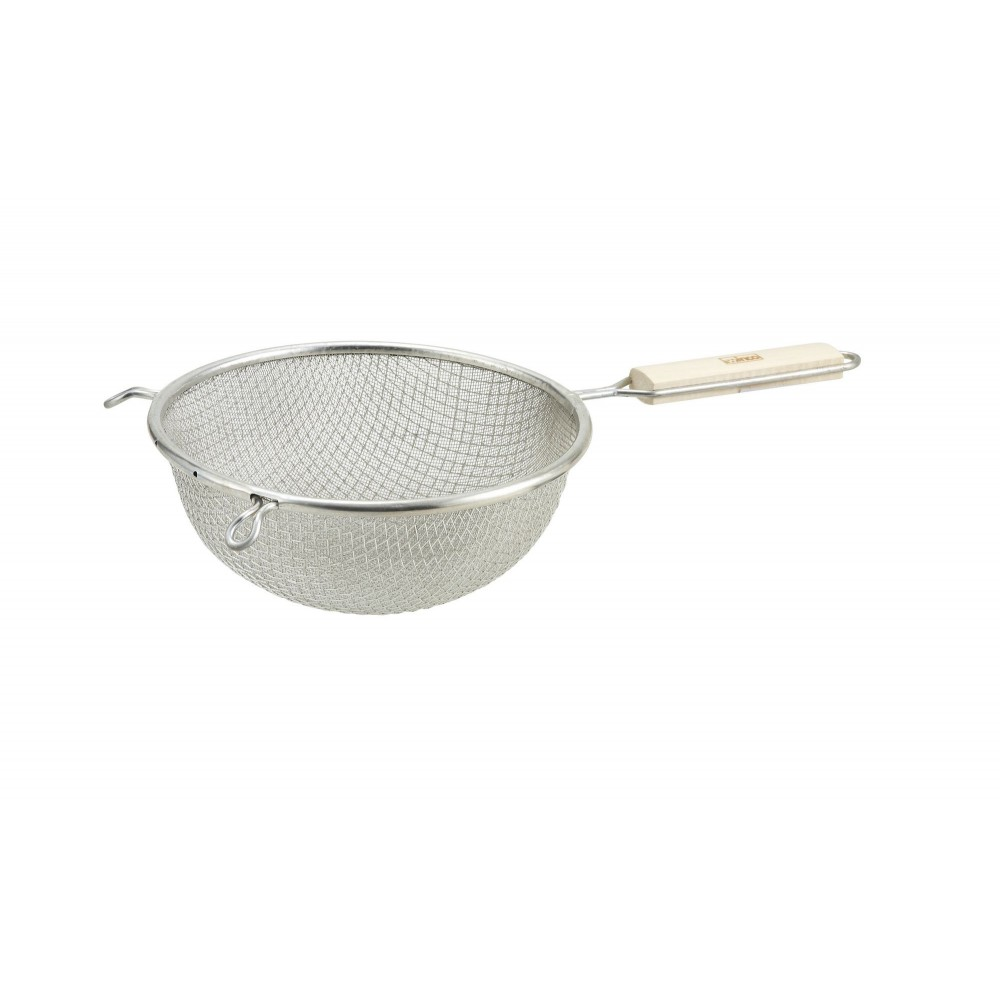 Winco MSTF-8D Double Mesh Fine Strainer with Wood Handle 8""