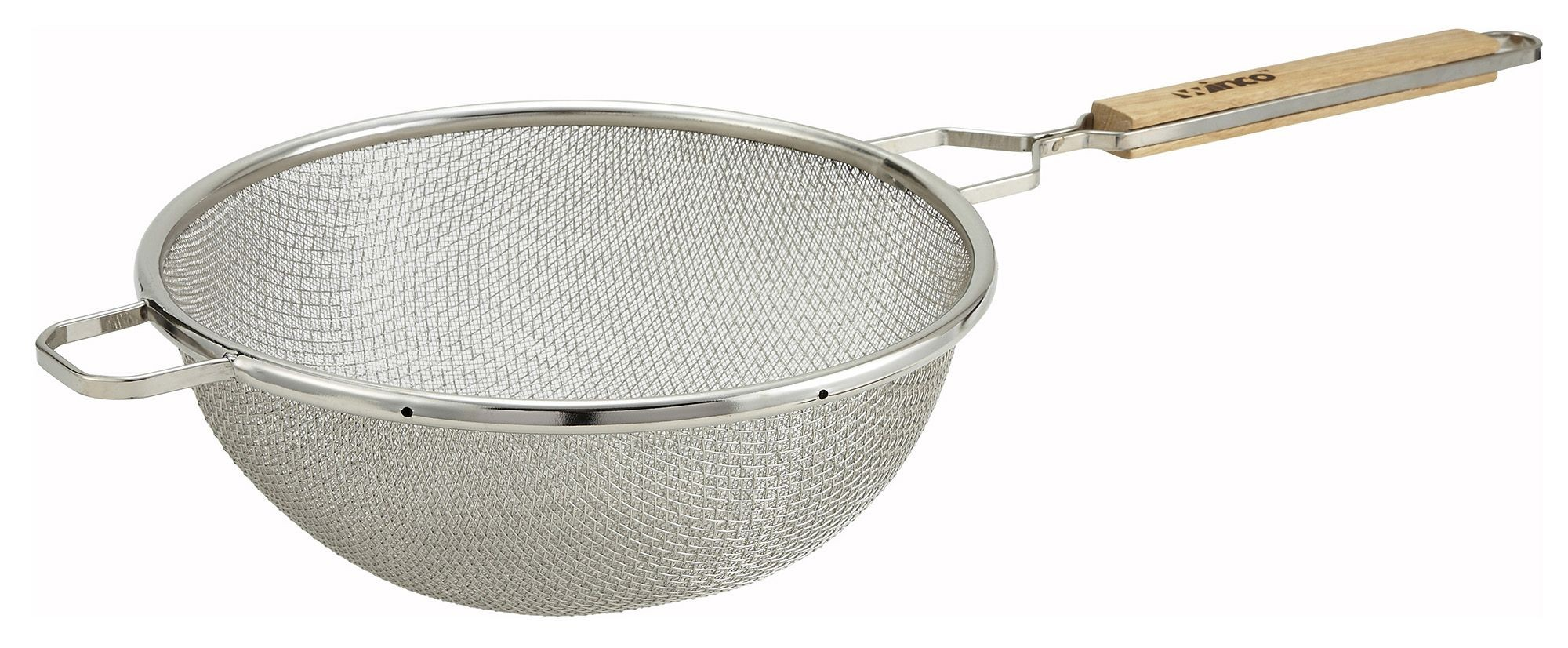 Winco MST-10D Double Mesh Medium Strainer with Wood Handle 10-1/2""