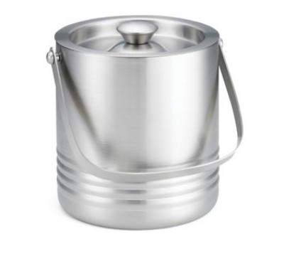 "TableCraft RIB76 Double Wall Stainless Steel Ice Bucket, 7"" x 6"" x 6-1/2"""