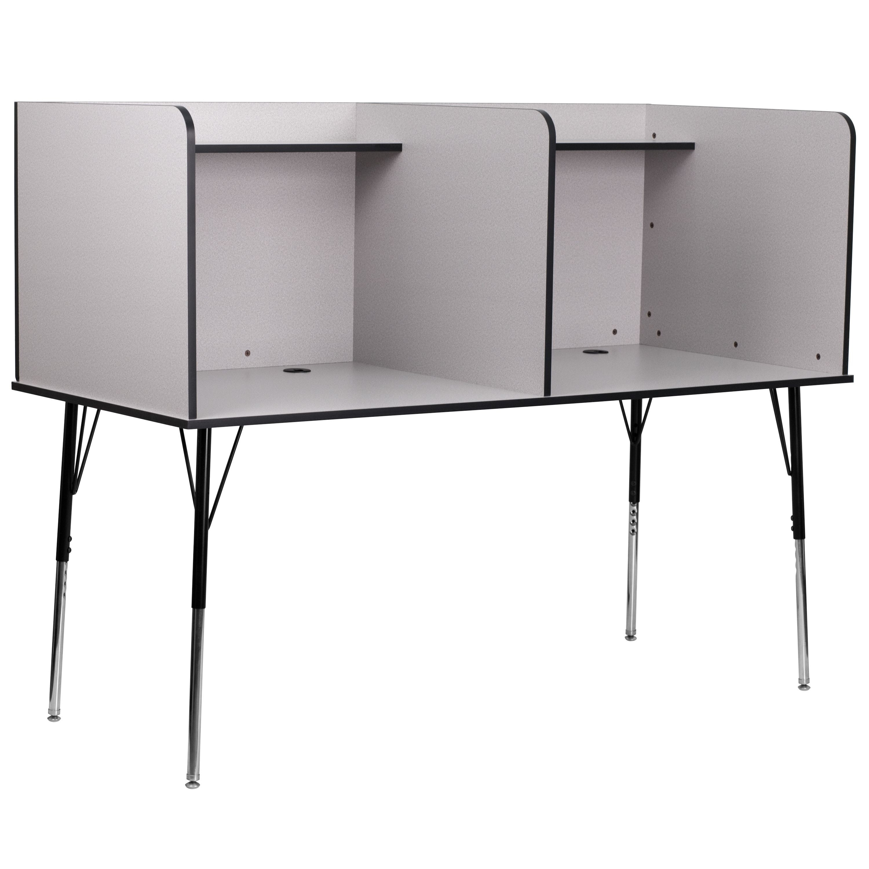 Flash Furniture MT-M6222-GRY-DBL-GG Double Wide Study Carrel with Adjustable Legs and Top Shelf/Nebula Grey Finish