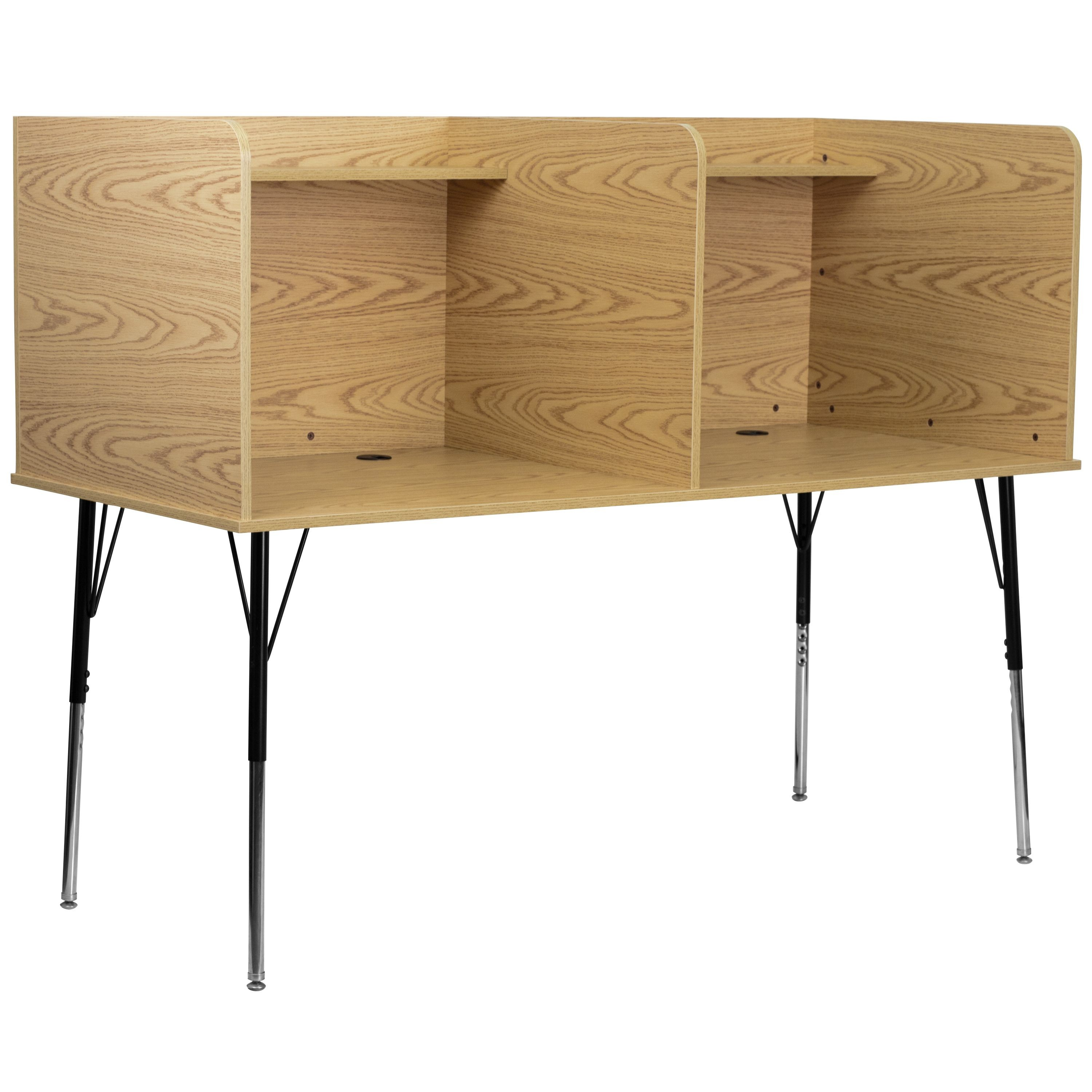 Flash Furniture MT-M6222-OAK-DBL-GG Double Wide Study Carrel with Adjustable Legs and Top Shelf/Oak Finish