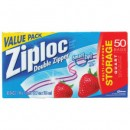 Clear Double Zipper Food Bags, 1-Quart, 1.75 Mil, 50/Box