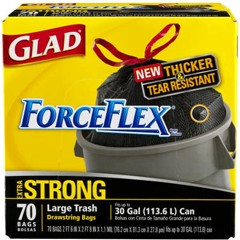 Drawstring ForceFlex Large Trash Bags, 30x32, 30-Gallon, 1.05 Mil, Black, 70/Cs