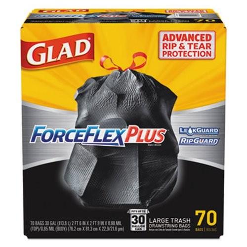 Glad Drawstring ForceFlex 30 Gallon Large Trash Bags, 30 x 32, 1.05ml, Black, 70/Carton