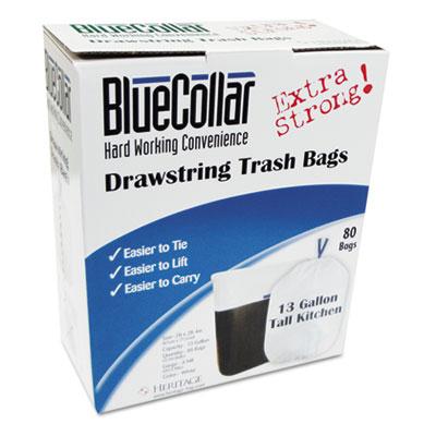 Drawstring Trash Bags, 13 gal, 0.8 mil, 24