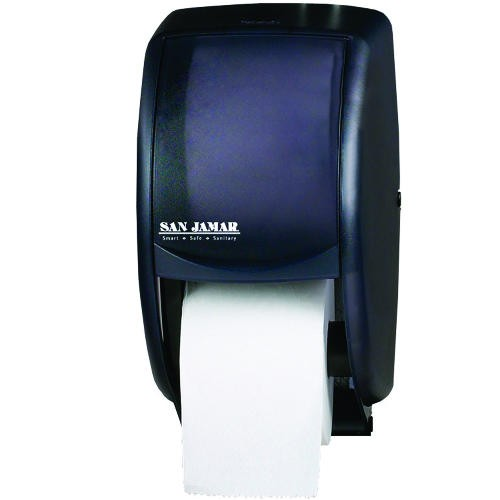 Duett Standard Bathroom Toliet Tissue Dispenser, Transparent Black