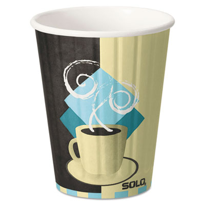 Duo Shield Hot Insulated 12oz Paper Cups, Tuscan, Chocolate/Blue/Beige, 40/Pack