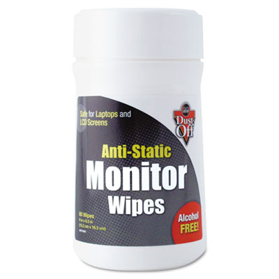 Dust-off Premoistened Monitor Cleaning Wipes, 80 Wipes/Tub