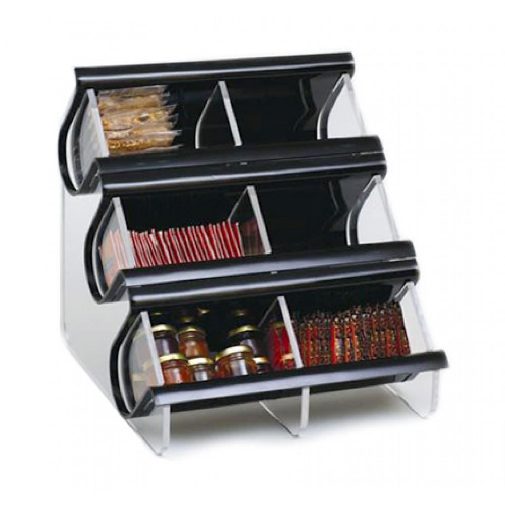 Rosseto EZO739 Double Unit, Six Compartment Black Acrylic EZ-Organizer
