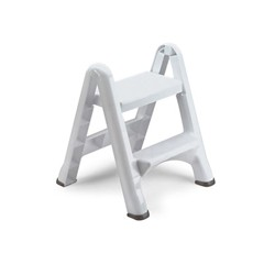 EZ Step Two-Step Folding Stool, 19 1/2l x 20 3/5w x 22 7/10h, White