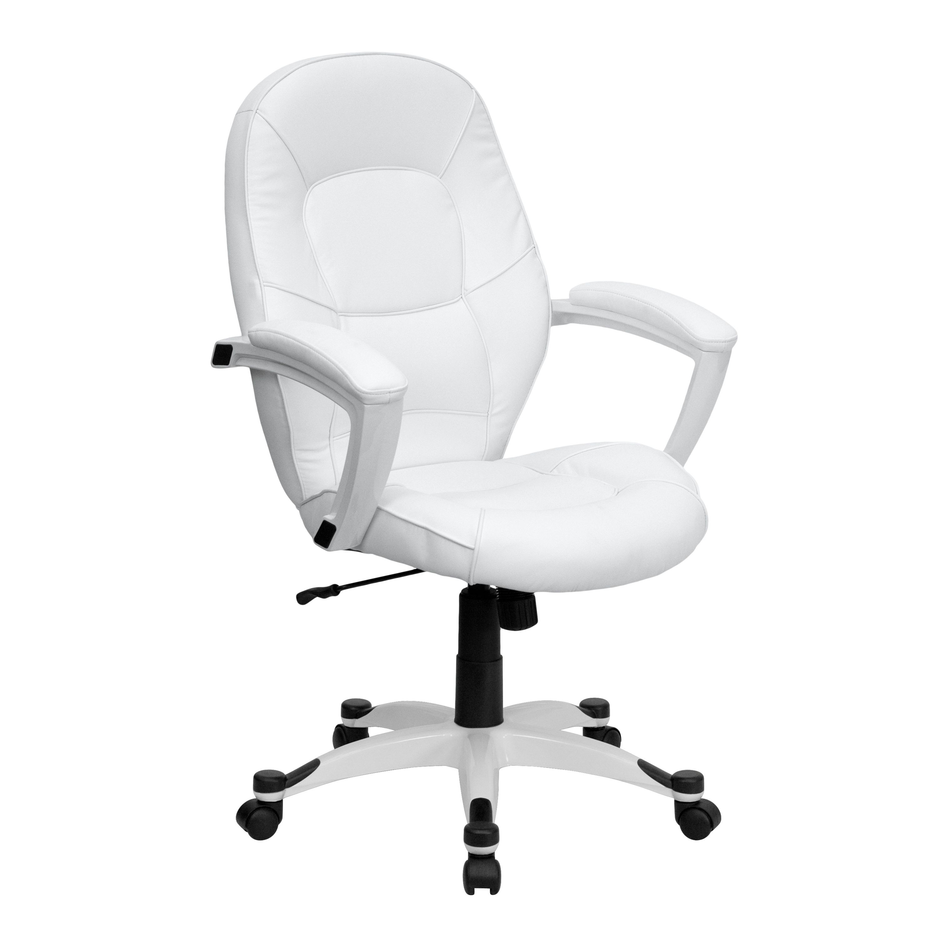 Eco-Friendly White Leather Mid-Back Executive Office Chair
