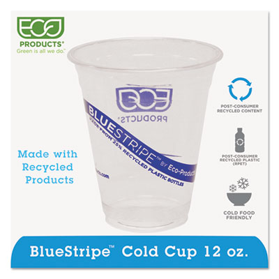 Eco-Products BlueStripe Recycled Content Clear Plastic Cold Drink Cups, 12 oz., 1000/Carton