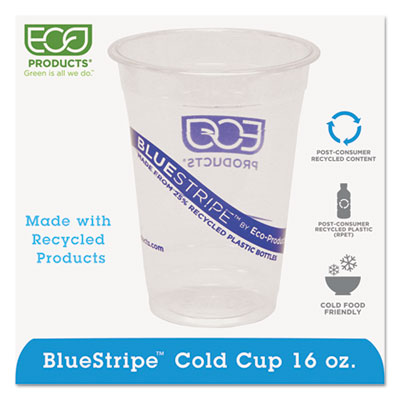 Eco-Products BlueStripe Recycled Content Clear Plastic Cold Drink Cups, 16 oz., 1000/Csrton