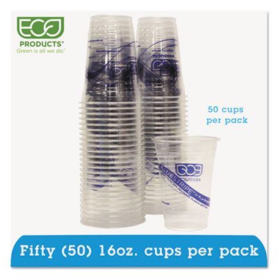 Eco-Products BlueStripe Recycled Content Clear Plastic Cold Drink Cups, 16 oz., 50/Pack