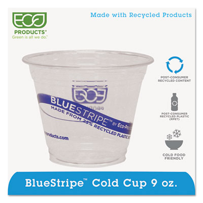 Eco-Products BlueStripe Recycled Content Clear Plastic Cold Drink Cups, 9 oz., 1000/Csrton