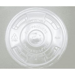 Eco-Products,Inc. Compostable Cold Drink Cup Lids, Flat, Clear (Box of 1000)