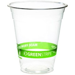 Eco-Products,Inc. GreenStripe Renewable Resource Compostable Cold Drink Cups, 12 oz, Clear (Box of 1000)