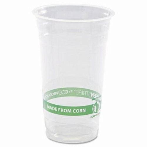 GreenStripe PLA Cold Cups, 24oz, Clear 1000/Carton