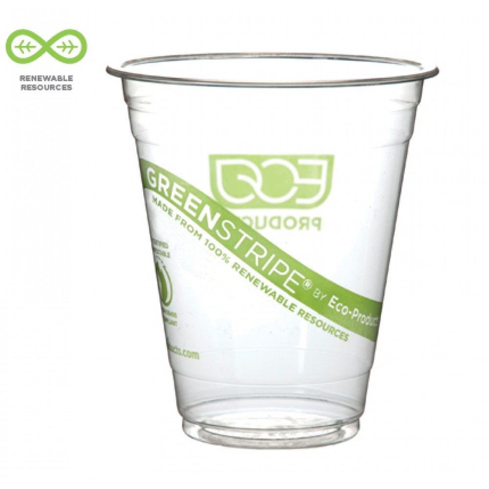 Eco-Products GreenStripe Renewable Resource Compostable Cold Drink Cups, 12 oz. 1000/Carton