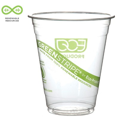 Eco-Products GreenStripe Renewable Resource Compostable Cold Drink Cups, 16 oz. 1000/Carton