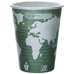 Eco-Products,Inc. World Art Renewable Resource Compostable Hot Cups, 12 oz, Green (Box of 1000)