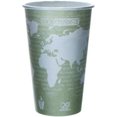 Eco-Products,Inc. World Art Renewable Resource Compostable Hot Cups, 16 oz, Sea Green (Box of 1000)