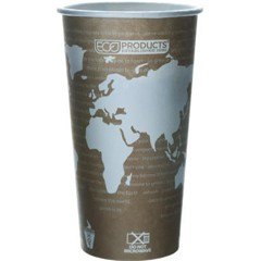 Eco-Products,Inc. World Art Renewable Resource Compostable Hot Drink Cups, 20 oz, Tan (Box of 1000)
