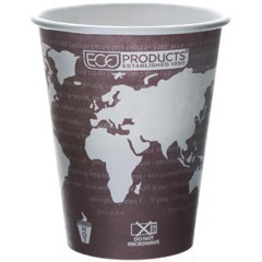 Eco-Products,Inc. World Art Renewable Resource Compostable Hot Drink Cups, 8 oz, Plum (Box of 1000)