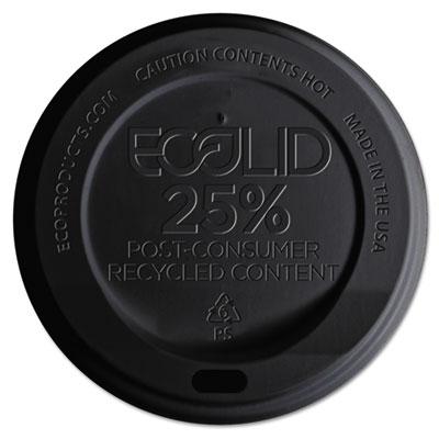 EcoLid 25% Recy Content Hot Cup Lid, Black, F/10-20oz, 100/PK, 10 PK/CT