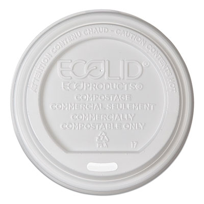 EcoLid Renewable/Compostable Hot Cup Lid, PLA, Fits 10-20 oz Hot Cups, 50/Pack, 16 Packs/Carton