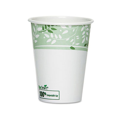 EcoSmart Hot Cups, Paper w/PLA Lining, Viridian, 12oz, 50/Pack