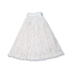 Economy Cotton Mop Heads, Cut-End, Cotton, White, 32 oz, 1-in. White Headband