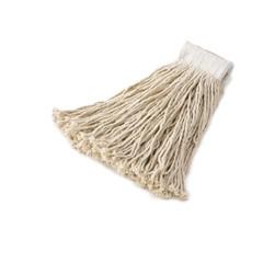 Economy Cotton Mop Heads, Cut-End, White, 20 oz, 5-In White Headband