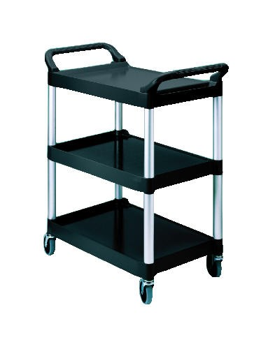Economy Plastic Utility Cart, 3-Shelf, 200lbs, 18-5/8 x 33-5/8 x 37-3/4, Black