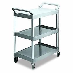 Economy Plastic Utility Cart, 3-Shelf, 200lbs, 18-5/8 x 33-5/8 x 37-3/4, Platinum